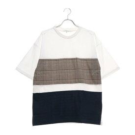 スタイルブロック STYLEBLOCK 前身布帛切替ビッグTシャツ (オフ×ネイビー)