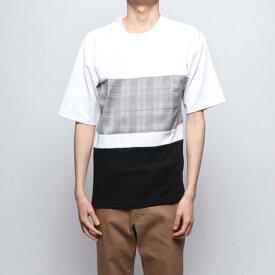 スタイルブロック STYLEBLOCK 前身布帛切替ビッグTシャツ (オフ×ブラック)