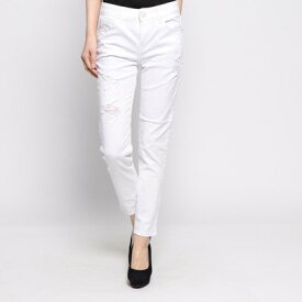 ゲス GUESS DAMAGED SLIM SKINNY WHITE DENIM PANT (WHITE)