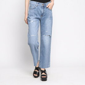 ゲス GUESS DAMAGED WIDE DENIM PANT (MEDIUM BLUE)