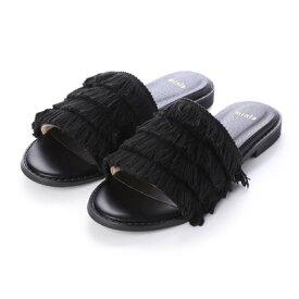 【アウトレット】ミニア minia フリンジサンダル(809) (ブラック)