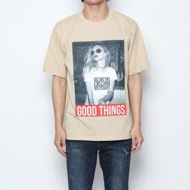 スタイルブロック STYLEBLOCK ガールズフォトエンボスプリント半袖ビッグTシャツ (ベージュ)