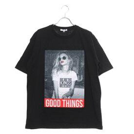 スタイルブロック STYLEBLOCK ガールズフォトエンボスプリント半袖ビッグTシャツ (ブラック)