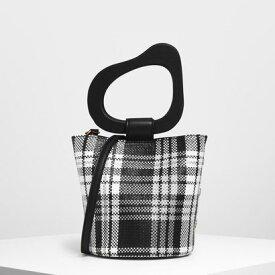スカルプチュアルハンドル ウーベンバケツバッグ / Sculptural Handle Woven Bucket Bag (Black)