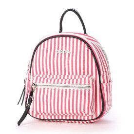 フォリフォリ Folli Follie ISLAND RIVIERA ストライプバックパック (ピンク/ホワイト)