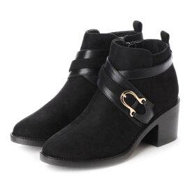 【アウトレット】マフモフ Mafmof Realta(レアルタ) クロスベルトデザインのショートブーツ (ブラック・スエード)