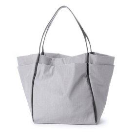 【アウトレット】クーコ COOCO シワ加工 ナイロン風 多機能ポケット トート バッグ A4 (グレー)