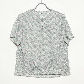 ニューヨーカー NEWYORKER バンダナminiモチーフプリント 前裾ゴムブラウス (ライトグリーン)