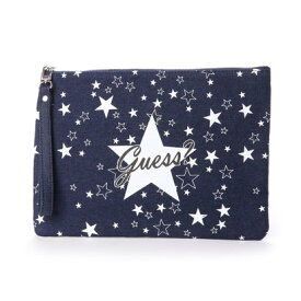 ゲス GUESS STAR DENIM CLUTCH BAG (BLUE)