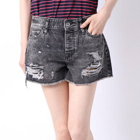 ゲス GUESS HOLLY ABRASIONS DENIM SHORT (BURNING BLACK)