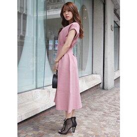 【アウトレット】rienda アワーグラスラインニットワンピース ピンク