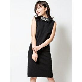 Million Carats ネックパールリボンニットワンピース[DRESS/ドレス] ブラック
