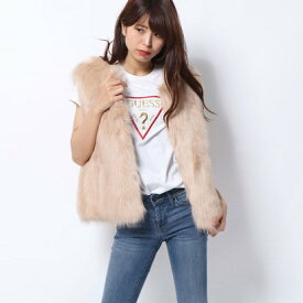 【アウトレット】ゲス GUESS LADIES FUR VEST (BEIGE)