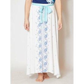 【Kahiko】花プリントリボンロングスカート ホワイト