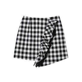 【アウトレット】rienda suelta ギンガムチェックフリルタイトスカート ブラック