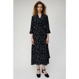 【アウトレット】マウジー moussy FLOWER PRINT WRAP DRESS (柄ブラック)