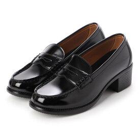 ジオアンドジア GIO&GIA レディース 学生靴 ヒールアップ(+5cm) スクール ローファ 軽量 通勤 通学 撥水加工 軽量 防滑 防臭 衝撃緩衝性 履き心地 (ブラック)