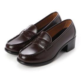 ジオアンドジア GIO&GIA レディース 学生靴 ヒールアップ(+5cm) スクール ローファ 軽量 通勤 通学 撥水加工 軽量 防滑 防臭 衝撃緩衝性 履き心地 (ブラウン)