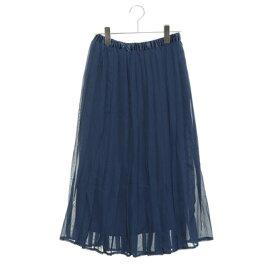 【アウトレット】ルノンキュール アウトレット Lugnoncure outlet ジョーゼットプリーツスカート (ブルー)