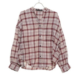 【アウトレット】ルノンキュール アウトレット Lugnoncure outlet ネルチェックボリューム袖シャツ (ボルドー)
