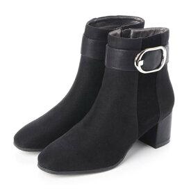 【撥水加工】 テーン tehen 異素材ミックスの撥水ソフトスクエアトゥ・ミドル丈ブーツ TN1735 (ブラックスエード)