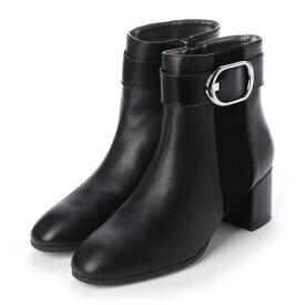 【撥水加工】 テーン tehen 異素材ミックスの撥水ソフトスクエアトゥ・ミドル丈ブーツ TN1735 (ブラック)