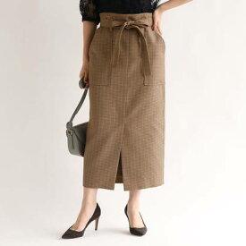 アクアガール aquagirl ガンクラブチェックロングタイトスカート (ブラウン)