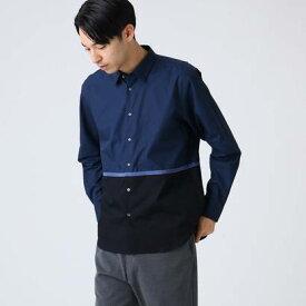 ティーケー タケオ キクチ tk.TAKEO KIKUCHI テープ配色ブロッキングシャツ (ダークネイビー)