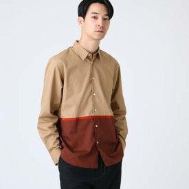 ティーケー タケオ キクチ tk.TAKEO KIKUCHI テープ配色ブロッキングシャツ (ベージュ)