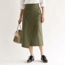 アクアガールレピスリー aquagirl/l'epicerie スラブアシンメトリーラップスカート (カーキ)