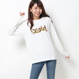 エックスガール X-girl LEOPARD LOGO L/S REGULAR TEE (WHITE)