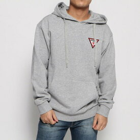 ゲス GUESS TRIANGLE LOGO FELT PATCH HOODED PARKA (MELANGE GREY)