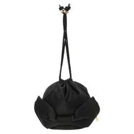 メゾンドフルール Maison de FLEUR リボン巾着バッグ (Black)