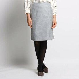 インディヴィ INDIVI [S]ウールブレンドタイトスカート (ライトグレー)