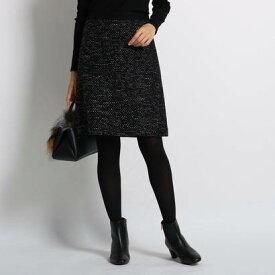 インディヴィ INDIVI ラメ混ツイードスカート (ブラック)
