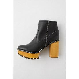 マウジー moussy WOOD SOLE BOOTS (柄ブラック)