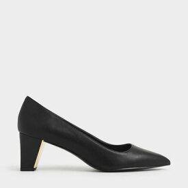 チャンキーヒール テクスチャードパンプス / Chunky Heel Textured Pumps (Black)