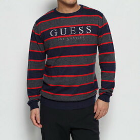 ゲス GUESS RAYURES LOGO STRIPE SWEATER (GREY BLUE RED STRIPES)