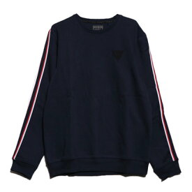 ゲス GUESS DETTA SIDE STRIP FLEECE SWEAT (BLUE NAVY/BLUE)