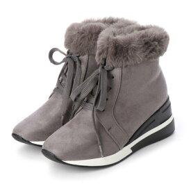 マシュガール masyugirl 【幅広ゆったり・大きいサイズの靴】 エコファー付きレースアップスニーカーブーツ (グレースエード) SOROTTO