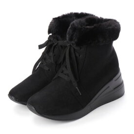 マシュガール masyugirl 【幅広ゆったり・大きいサイズの靴】 エコファー付きレースアップスニーカーブーツ (ブラックスエード) SOROTTO