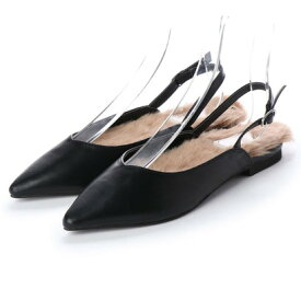 【アウトレット】ディファレンス745 Difference745 レディース ファー パンプス フラットパンプス ストラップ サンダル ポインテッドトゥ ふわふわ 女性 靴 (ブラック)