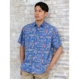 【Kahiko】TWO PALMS フラMEN'Sアロハシャツ ブルー