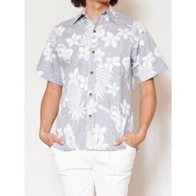 【Kahiko】TWO PALMS ウクレレMEN'Sアロハシャツ ネイビー
