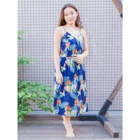 【アウトレット】【Kahiko】ハワイアンプリントキャミワンピース ブルー