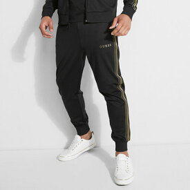 ゲス GUESS KEITH GOLD STRIPE TRACK JOGGER PANT (JET BLACK)