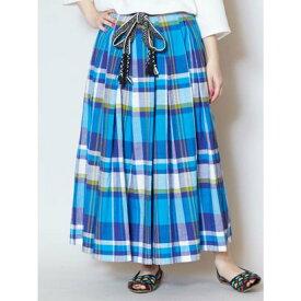 【チャイハネ】アフリカンチェック ロングスカート ブルー