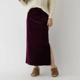 アクアガール aquagirl ストレッチベロアサイドスリットスカート (ボルドー)