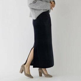 アクアガール aquagirl ストレッチベロアサイドスリットスカート (ネイビー)