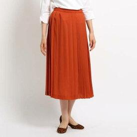 インディヴィ INDIVI [S]【ハンドウォッシュ】タータンチェック切り替えプリーツスカート (オレンジ)